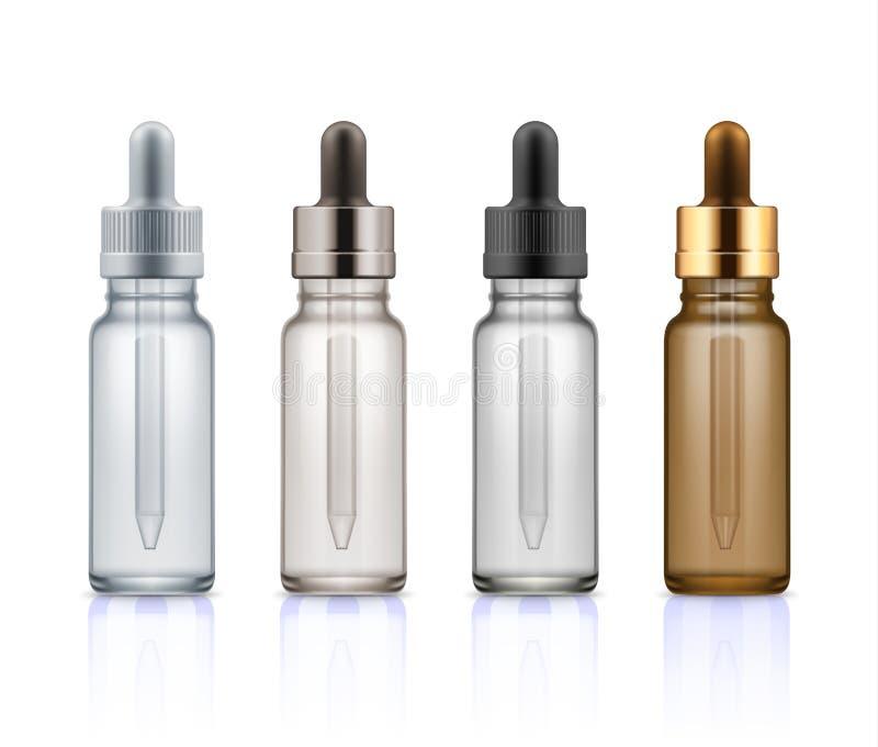 有吸管的化妆玻璃瓶 库存例证