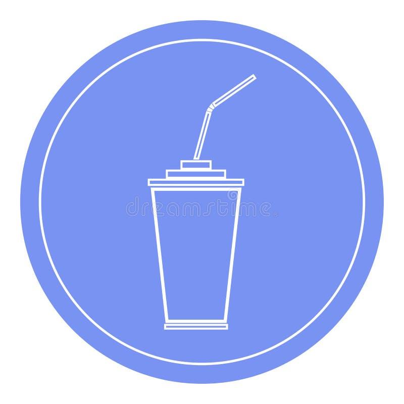有吸管象的纸或塑料杯子 蓝色圈子背景 免版税图库摄影