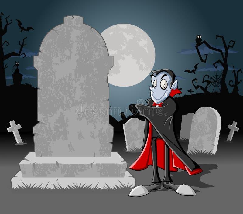 有吸血鬼的万圣节墓地 库存例证