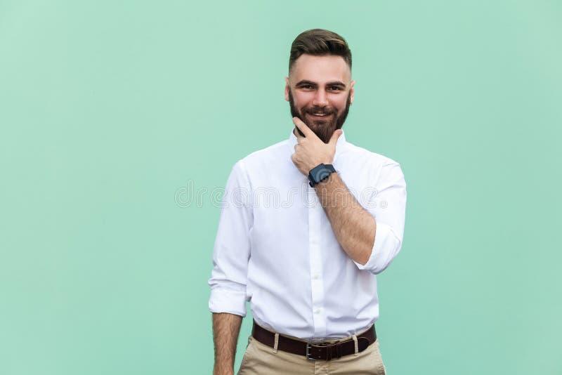 有呼吁的黑眼睛时髦的有胡子的人微笑入照相机的 与咧嘴的胡子的商人有快乐的神色 免版税图库摄影