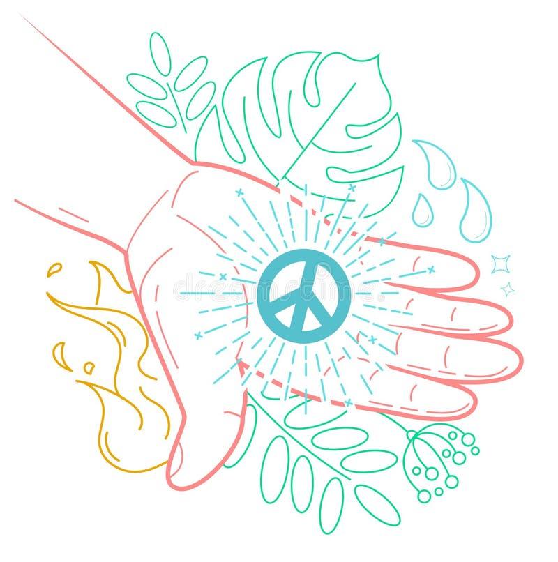 有和平的标志的手 库存例证