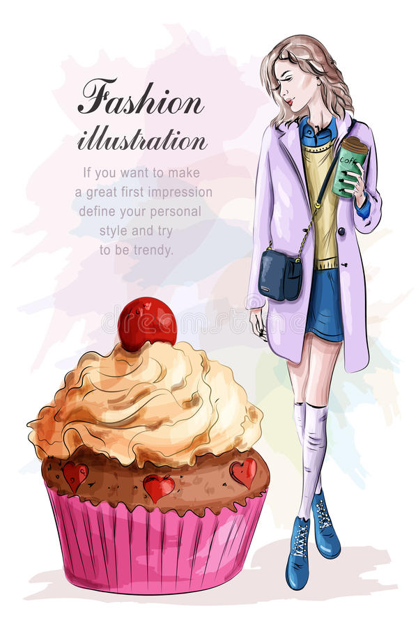 有咖啡杯和大鲜美蛋糕的时髦的妇女 草图 库存例证