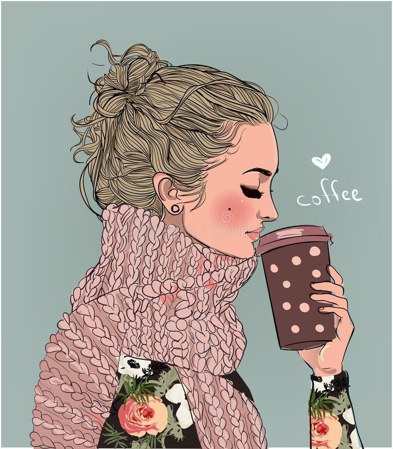 有咖啡杯的逗人喜爱的冬天女孩 皇族释放例证
