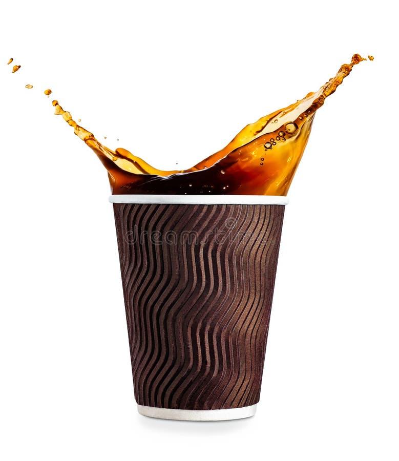 有咖啡飞溅的一次性杯子 图库摄影