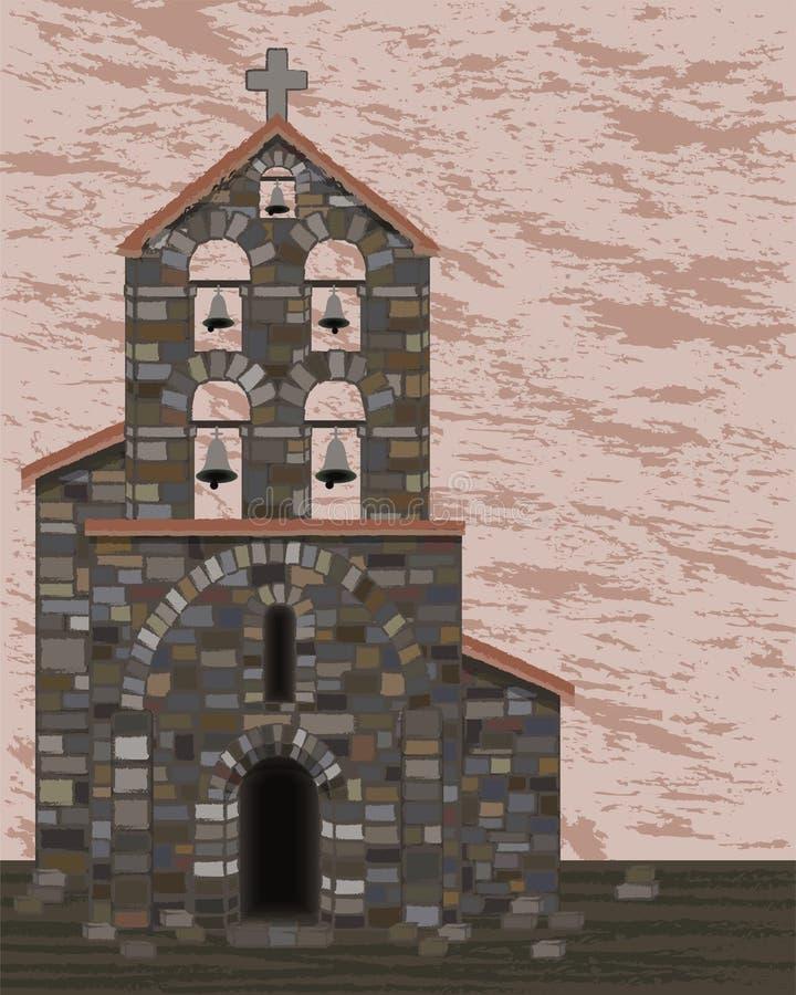 有响铃和被成拱形的入口的在visigoth样式,传染媒介古老石教会 皇族释放例证