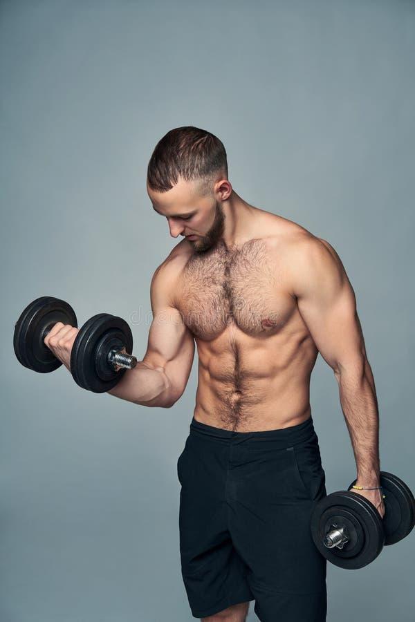 有哑铃的坚强的赤裸上身的体育人被隔绝 免版税库存图片