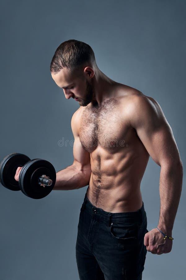 有哑铃的坚强的赤裸上身的体育人被隔绝 库存照片