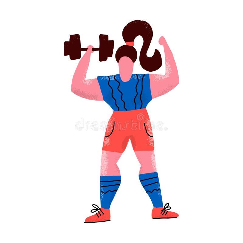有哑铃的妇女 运动服卡通人物的女运动员 重的竞技,体型 解决的女运动员, 向量例证
