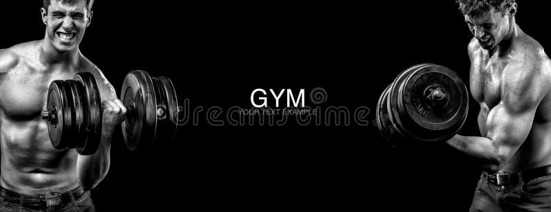 有哑铃的运动和适合的人行使在黑背景的停留适合 锻炼和健身刺激 库存照片