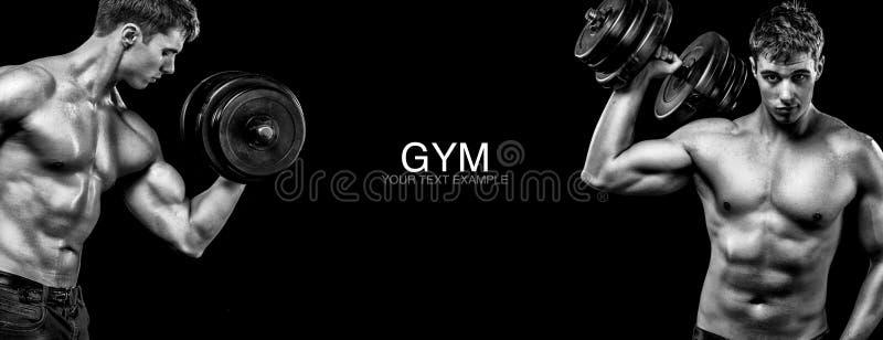 有哑铃的运动和适合的人行使在黑背景的停留适合 锻炼和健身刺激 免版税库存图片