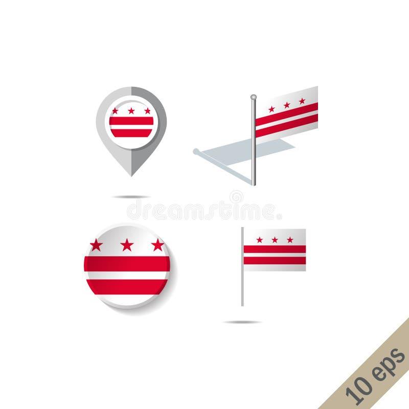 有哥伦比亚特区旗子的-传染媒介例证地图别针 库存例证