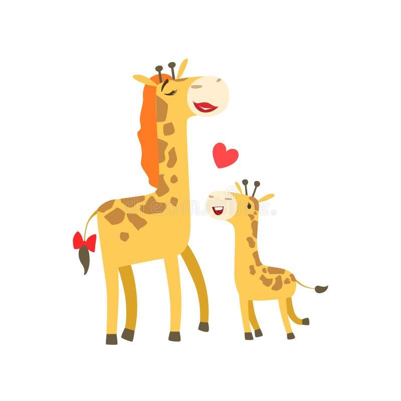 有唇膏动物父母的长颈鹿妈妈和它的与动画片动物区系的小小牛父母身分主题的五颜六色的例证 向量例证