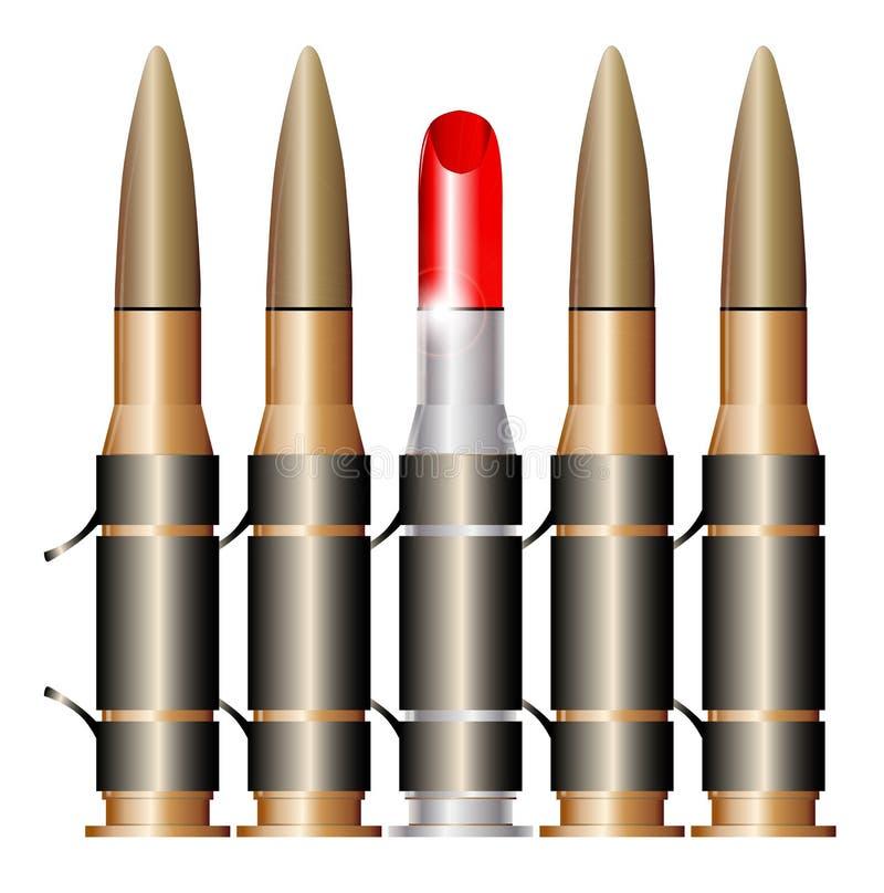 有唇膏的子弹传送带 皇族释放例证