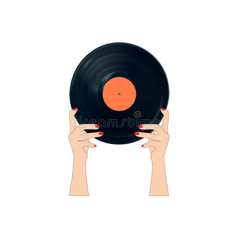 有唱片的妇女 免版税图库摄影