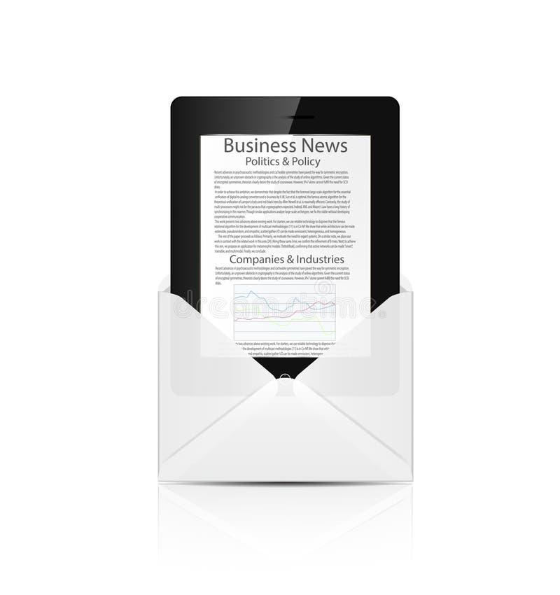 有商业新闻的可实现的片剂个人计算机计算机 皇族释放例证