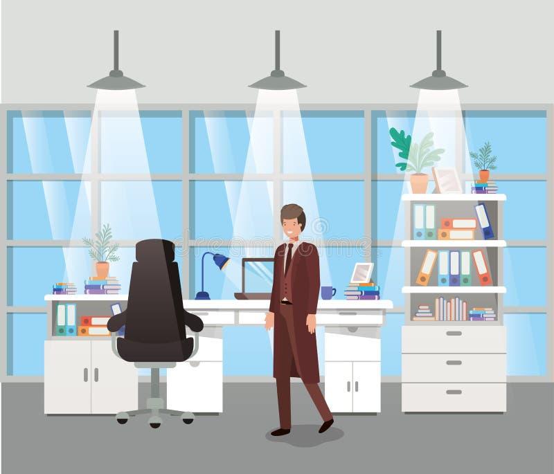 有商人的现代办公室 向量例证