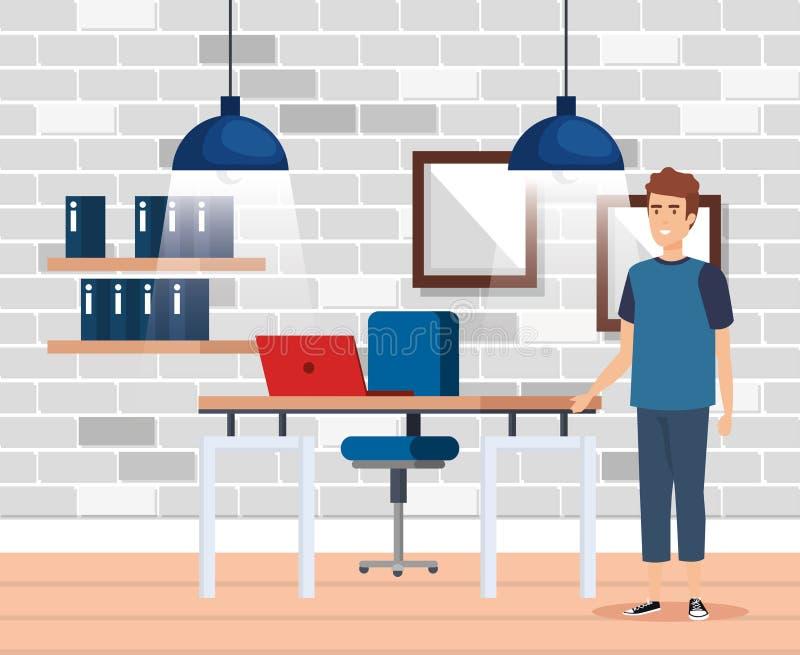 有商人的现代办公室 库存例证