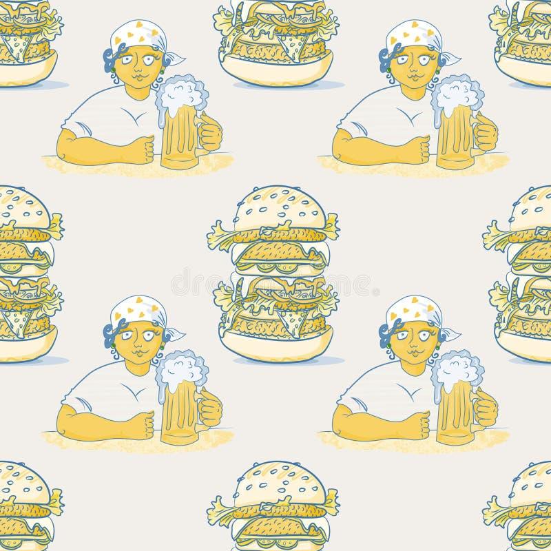有啤酒和巨大的汉堡包无缝的样式的女孩 皇族释放例证