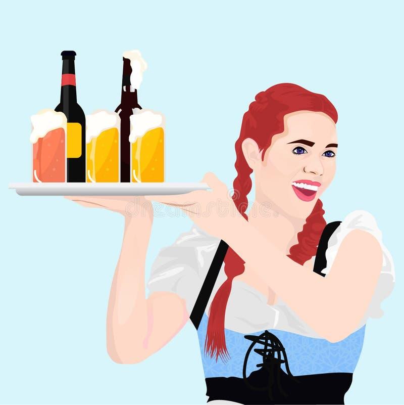 有啤酒泡沫减速火箭的popart的女孩侍者Octoberfest 向量例证