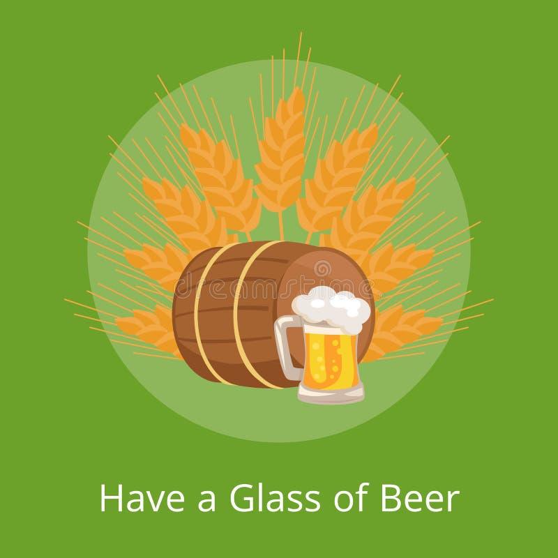 有啤酒海报描述木桶的杯 向量例证