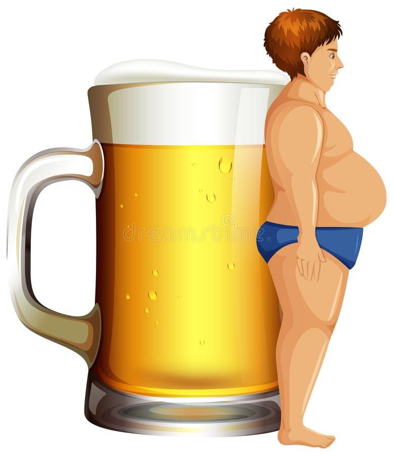 有啤酒肚的一个人 库存例证