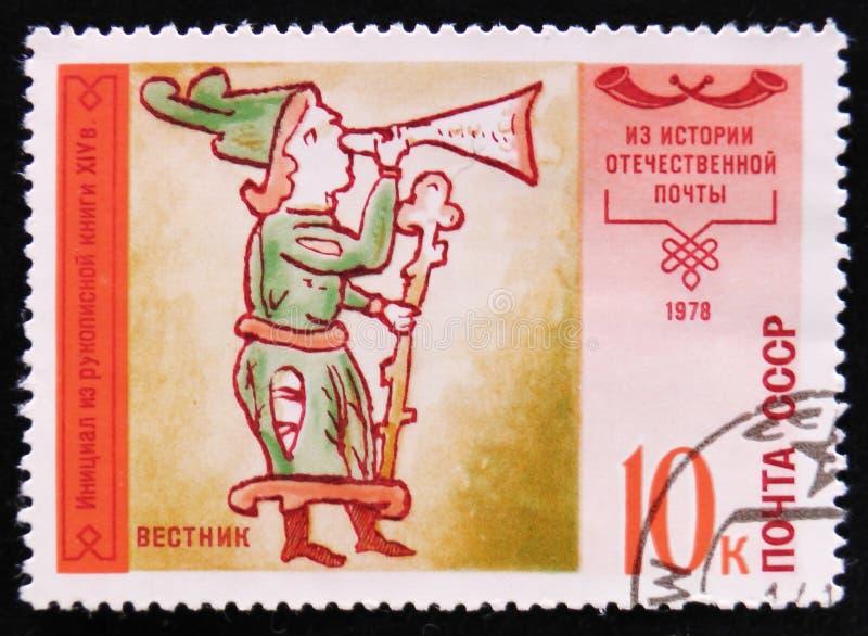 有喇叭和职员的信使,从14个世纪赞美诗书,大约1978年 免版税库存图片
