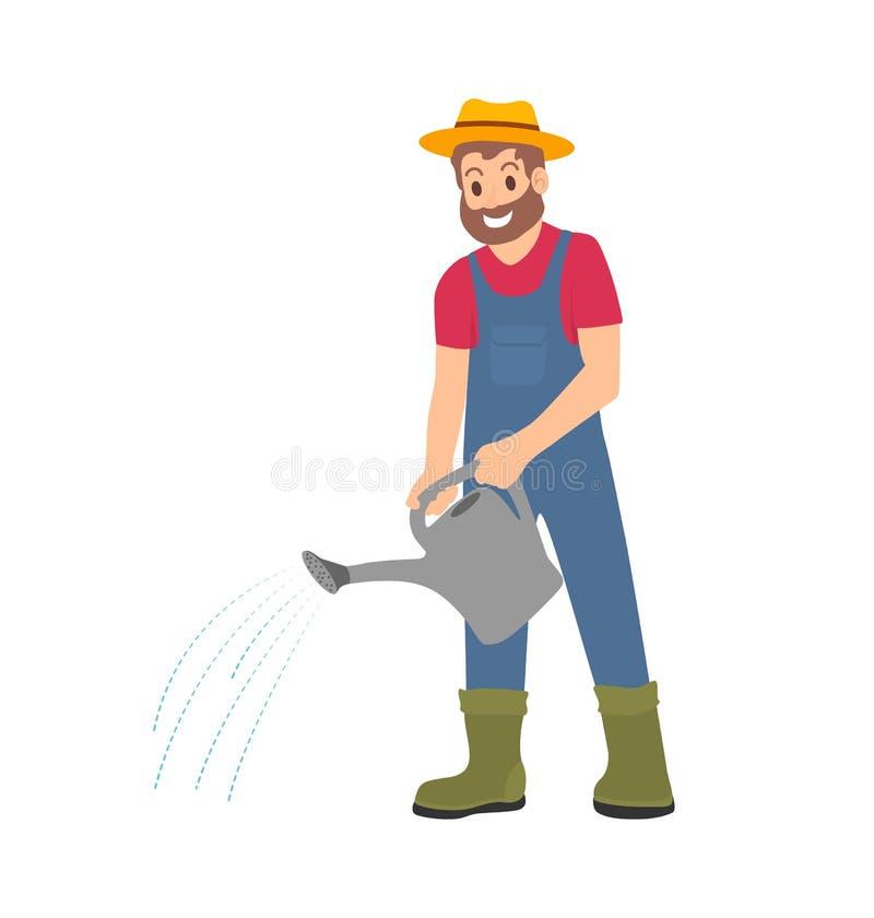 有喷壶工作的农夫在农厂动画片 库存例证