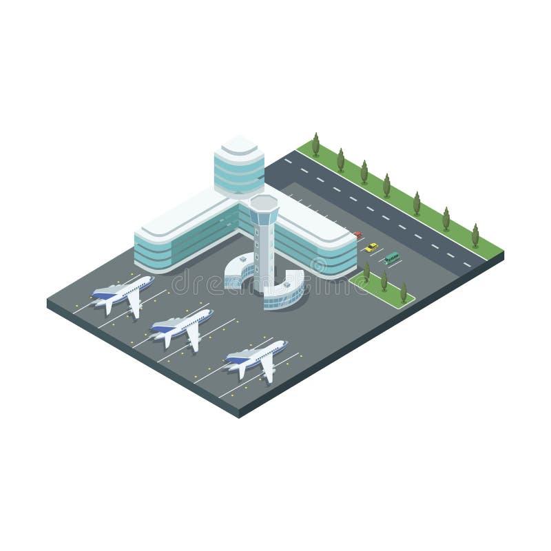 有喷气机和停车处的ModernÂ机场 向量例证