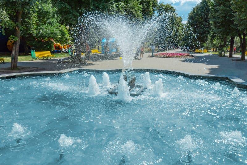 有喷水和喷泉的供水系统喷泉在公园或庭院 夏天白天生气勃勃和放松概念 蓝色水色水池 免版税库存图片