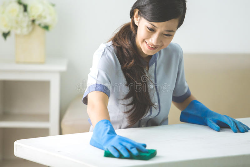 有喷粉器的更加干净的佣人妇女 免版税库存图片