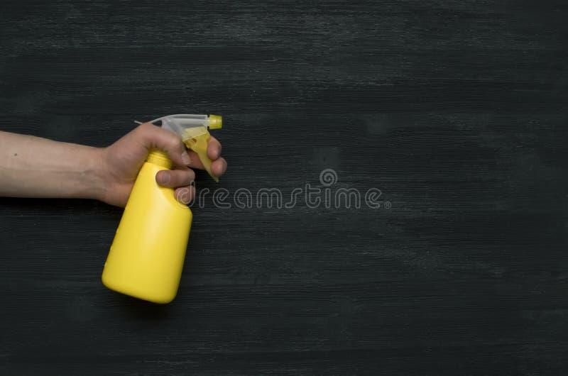 有喷雾器瓶的手洒水 图库摄影