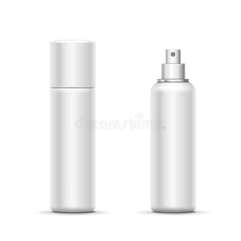 有喷雾器盖帽的空白的金属瓶 化妆防臭剂模板或清凉剂 向量 库存例证
