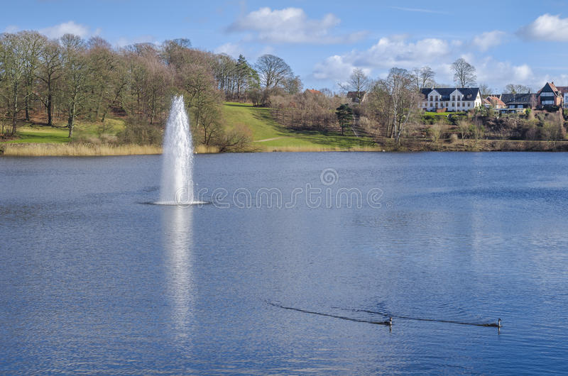 有喷水的湖 库存照片
