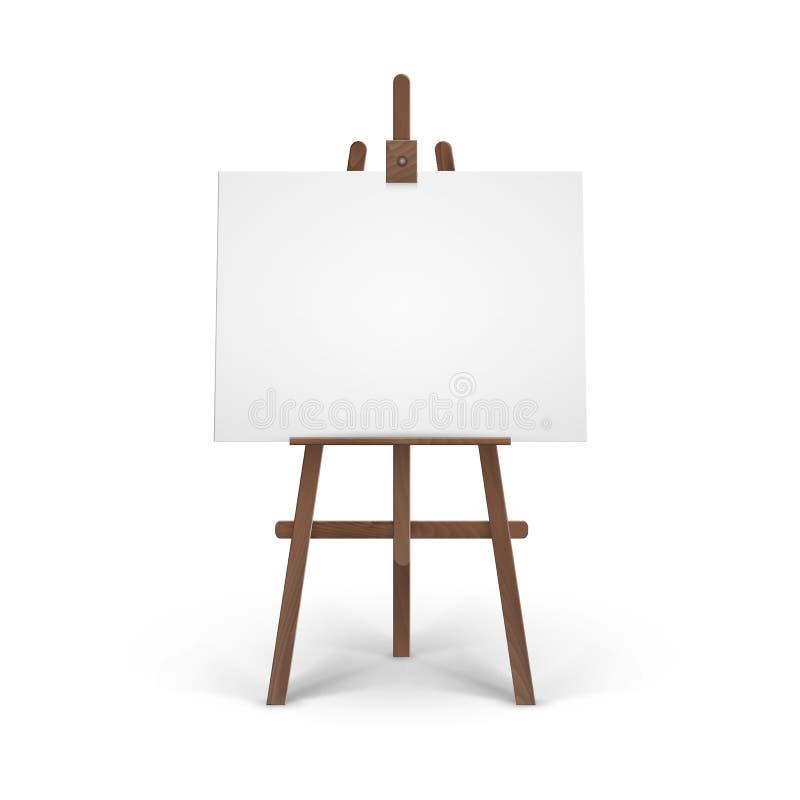 有嘲笑的传染媒介木布朗画架在背景的空的空白的水平的帆布 皇族释放例证