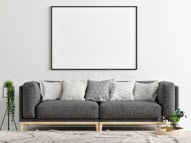 有嘲笑的海报,概念室内设计灰色沙发, 库存例证