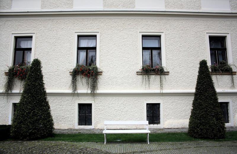 有四棵长的窗口和植物的白色墙壁,两圆锥型灌木和一条白色长凳 图库摄影