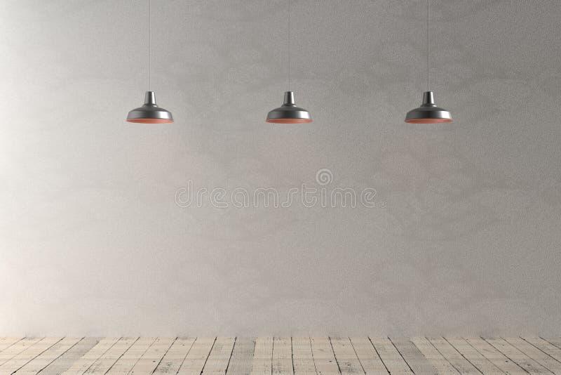 有四盏天花板灯的内部室, 3d翻译 免版税图库摄影
