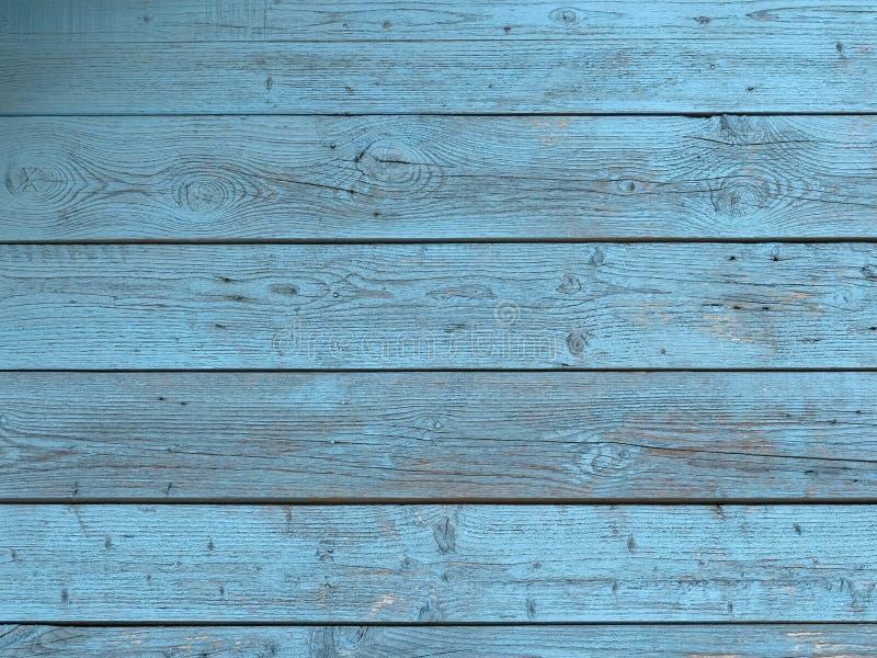 有困厄的谷仓木墙壁,剥蓝色油漆 库存照片