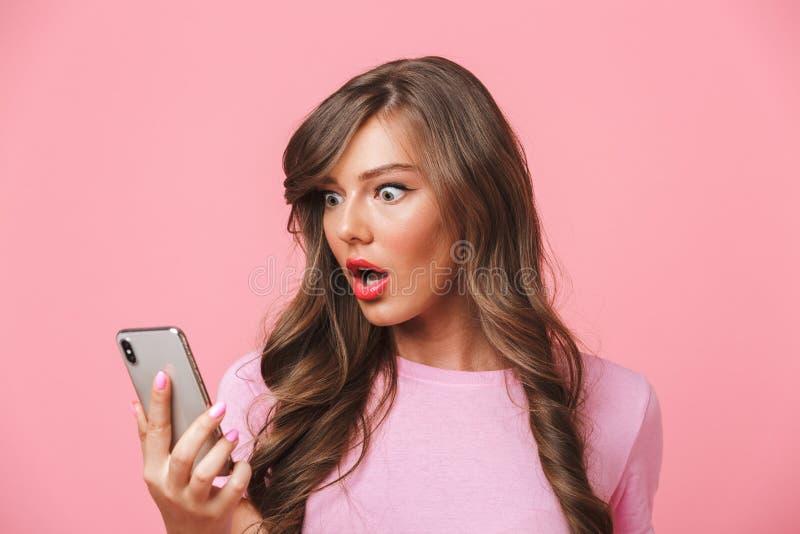有困惑的妇女的特写镜头图象美好的长的头发lookin 库存照片