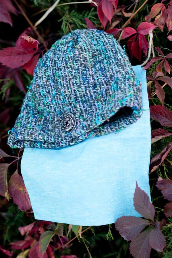 有围巾射击的妇女的美丽的温暖的羊毛被编织的帽子在自然光 免版税库存照片