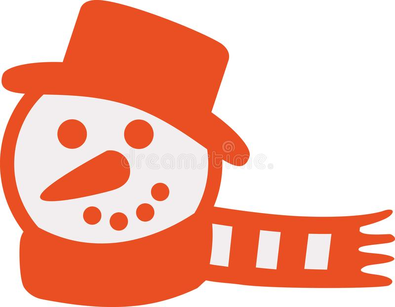 有围巾的橙色雪人头 皇族释放例证