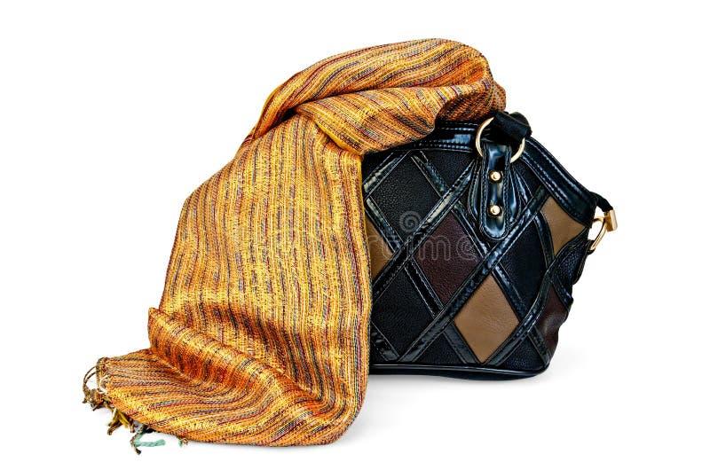有围巾的袋子女性 免版税库存照片