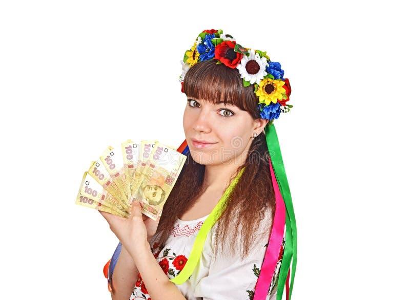 有国家货币hryvna的乌克兰妇女 库存照片