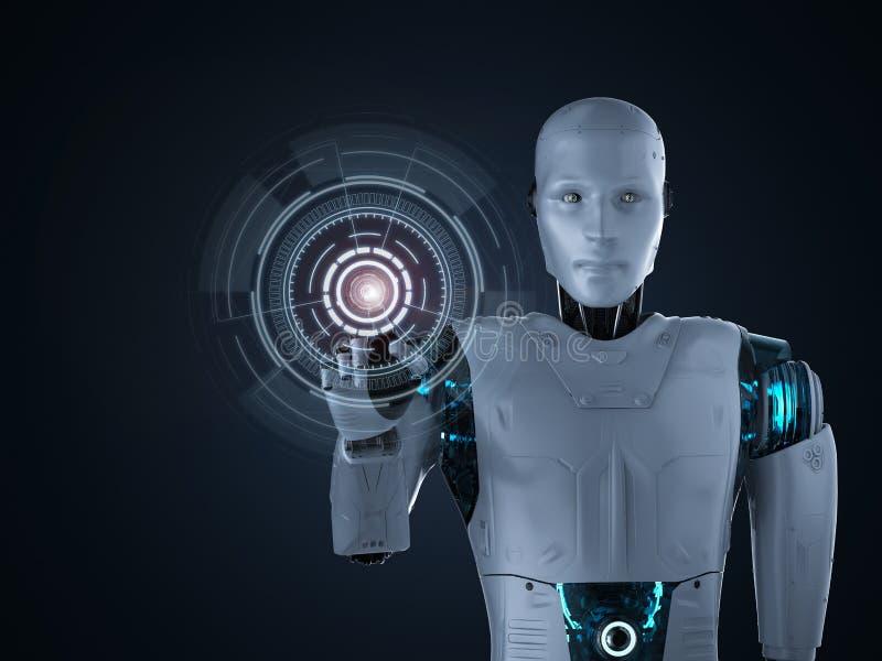有图形显示的机器人 向量例证