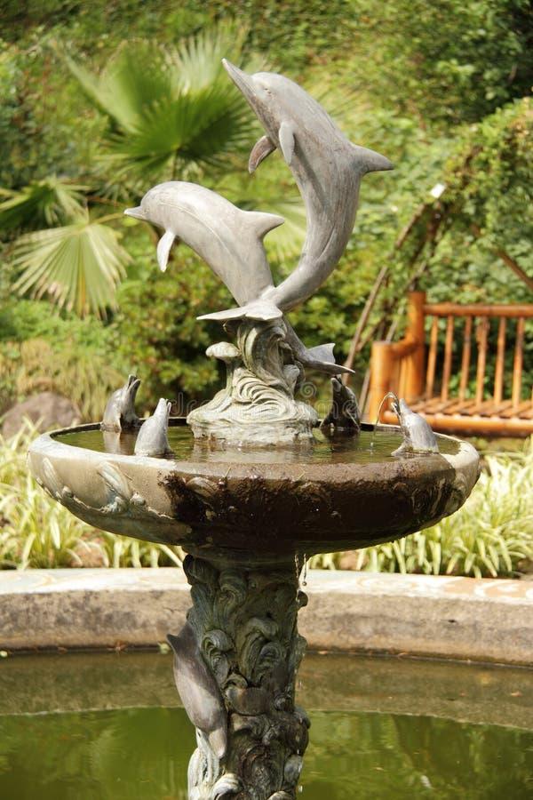 有图的海豚喷泉 免版税库存图片