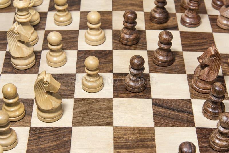 有图的特写镜头木棋枰 库存图片