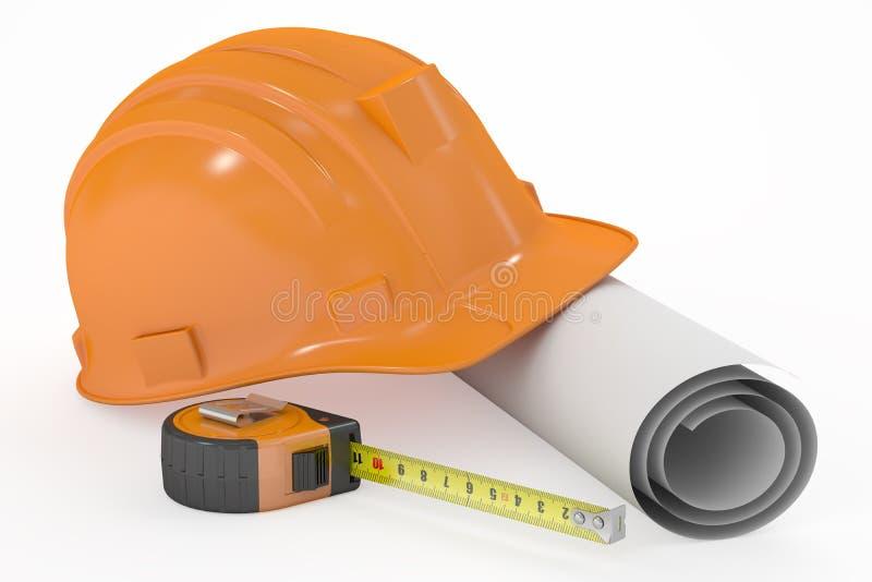 有图纸和测量的磁带的, 3D安全帽翻译 库存例证