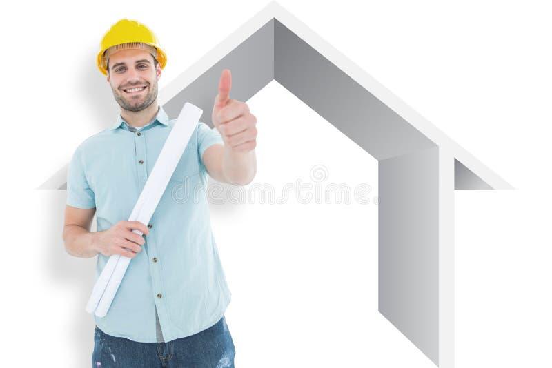 有图纸的打手势赞许的男性建筑师的综合图象 库存图片