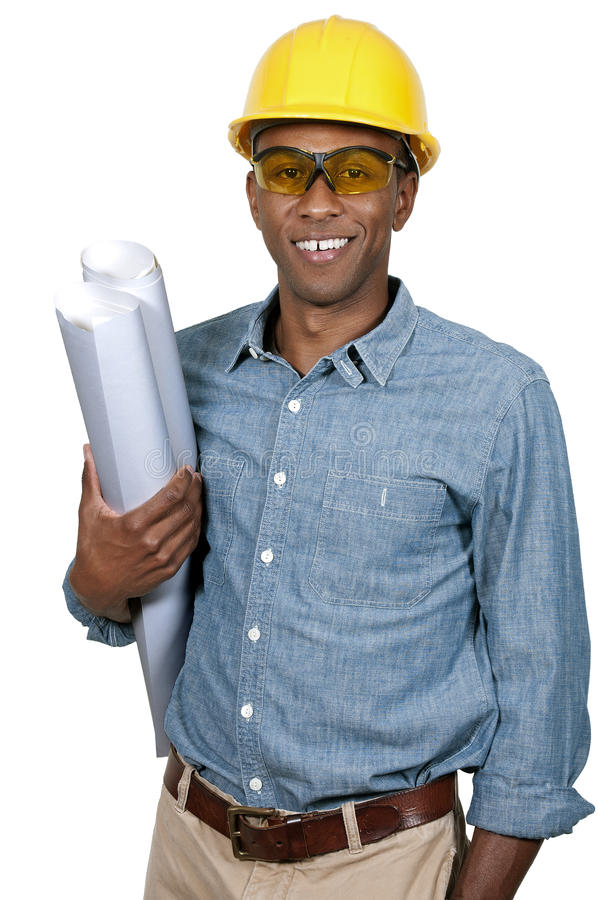 有图纸的建筑工人 库存图片