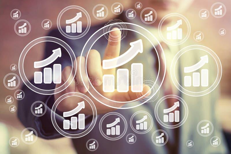 有图网企业象图统计标志的人 免版税库存照片